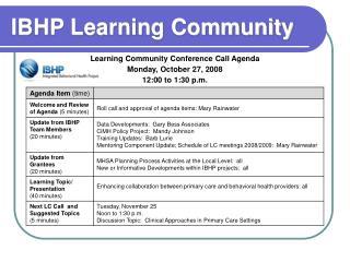 IBHP Learning Community