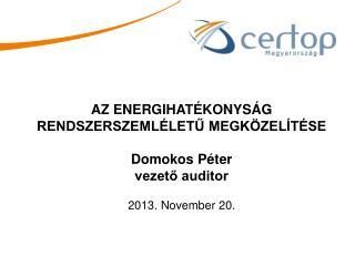AZ ENERGIHATÉKONYSÁG RENDSZERSZEMLÉLETŰ MEGKÖZELÍTÉSE Domokos Péter vezető auditor
