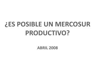 ¿ES POSIBLE UN MERCOSUR PRODUCTIVO? ABRIL 2008