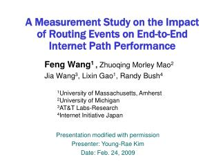A Measurement Study on the Impact of Routing Events on End-to-End  Internet Path Performance