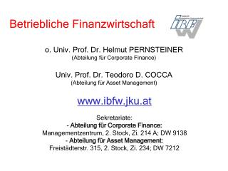 ibfw.jku.at Sekretariate:  Abteilung für Corporate Finance: