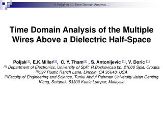 Time Domain Analysis of the Multiple Wires Above  a  Dielectric Half-Space