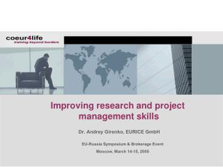 Improving research and project  management skills