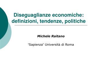 Diseguaglianze economiche: definizioni, tendenze, politiche