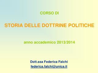 CORSO DI STORIA DELLE DOTTRINE POLITICHE anno accademico 2013/2014
