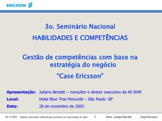 3o. Seminário Nacional HABILIDADES E COMPETÊNCIAS