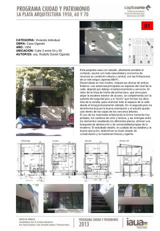 CATEGORIA:  Vivienda individual OBRA:  Casa Ogando AÑO:  1954 UBICACION:  Calle 3 entre 54 y 55