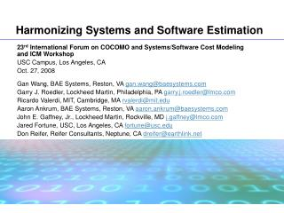 Harmonizing Systems and Software Estimation