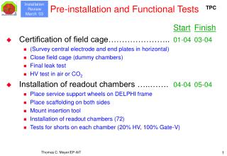 Pre-installation and Functional Tests