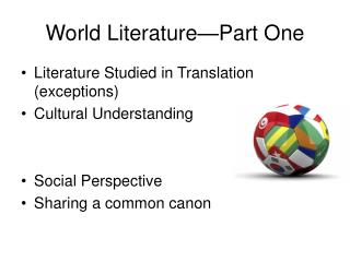 World Literature�Part One