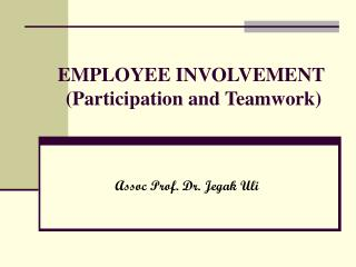 EMPLOYEE INVOLVEMENT  (Participation and Teamwork)