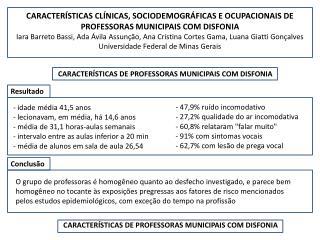 CARACTER�STICAS DE PROFESSORAS MUNICIPAIS COM DISFONIA