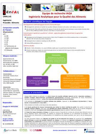 Equipe de recherche IAQA Ingénierie Analytique pour la Qualité des Aliments