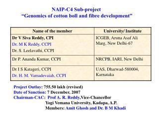 "NAIP-C4 Sub-project  ""Genomics of cotton boll and fibre development"""