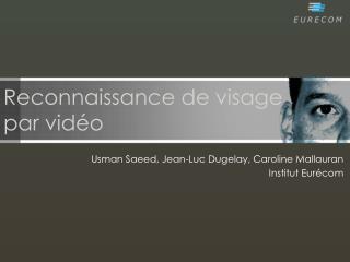 Reconnaissance de visage  par vidéo