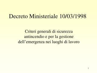 Decreto Ministeriale 10/03/1998