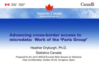 Advancing cross-border access to microdata:  Work of the 'Paris Group'