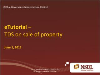 eTutorial  –  TDS on sale of property June 1, 2013