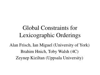 Global Constraints for Lexicographic Orderings