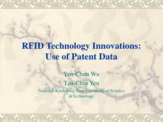 RFID Technology Innovations: Use of Patent Data