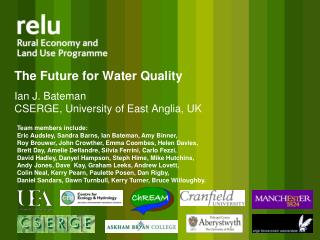The Future for Water Quality Ian J. Bateman  CSERGE, University of East Anglia, UK