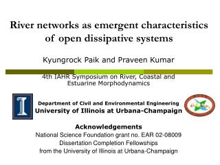 River networks as emergent characteristics of open dissipative systems