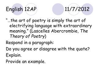 English 12AP11/7/2012