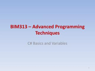 BIM313 – Advanced Programming Techniques