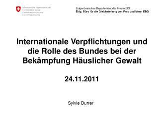Internationale  Verpflichtungen und  die Rolle des  Bundes bei  der  Bekämpfung Häuslicher Gewalt