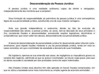 Desconsideração da Pessoa Jurídica