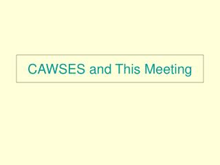 CAWSES and This Meeting