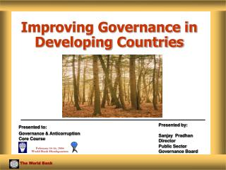 Improving Governance in Developing Countries