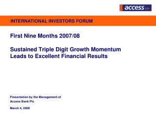 First Nine Months 2007