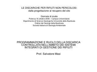 INDICAZIONI DEL D.L. 22/97 (Decreto Ronchi)