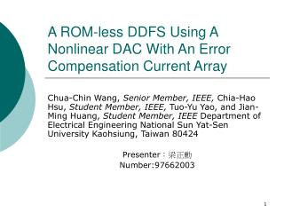 A ROM-less DDFS Using A Nonlinear DAC With An Error Compensation Current Array