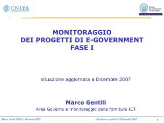 MONITORAGGIO DEI PROGETTI DI E-GOVERNMENT  FASE I