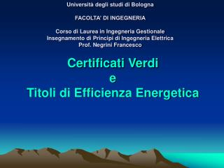 Certificati Verdi e Titoli di Efficienza Energetica