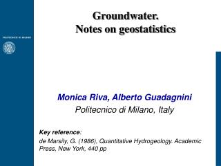 Groundwater. Notes on geostatistics