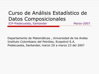 Departamento de Matemáticas , Universidad de los Andes