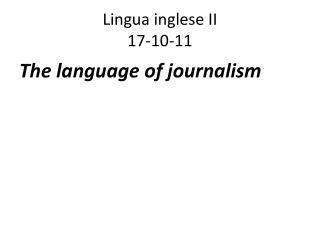 Lingua inglese II 17-10-11