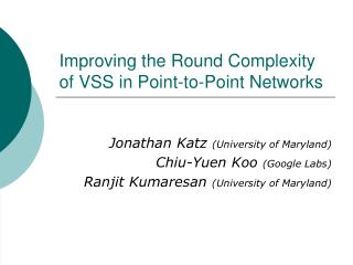 Improving the Round Complexity of VSS in Point-to-Point Networks