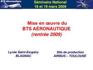 Séminaire National 18 et 19 mars 2009