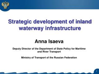 Strategic development of inland waterway infrastructure