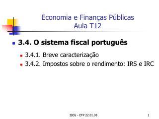 Economia e Finanças Públicas Aula T12