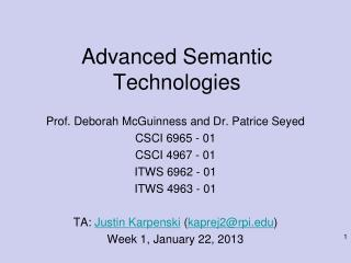 Advanced Semantic Technologies