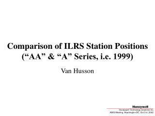 "Comparison of ILRS Station Positions (""AA"" & ""A"" Series, i.e. 1999)"