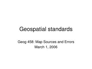 Geospatial standards