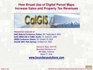 How Broad Use of Digital Parcel Maps  Increase Sales and Property Tax Revenues