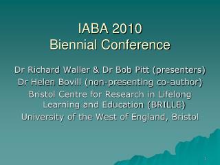 IABA 2010  Biennial Conference