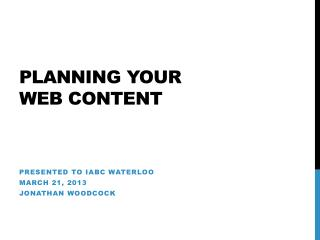 Planning Your  web content